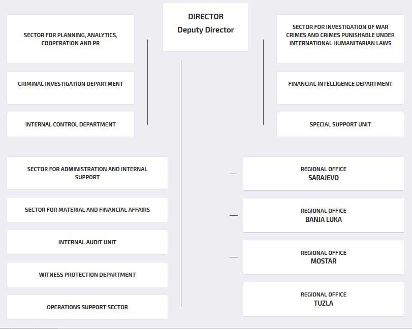 Структура Государственного агентства информации и защиты Боснии и Герцеговины